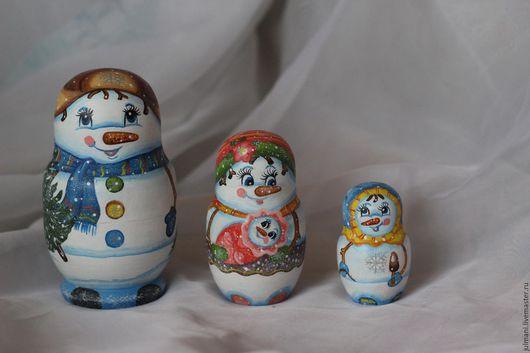 """Матрешки ручной работы. Ярмарка Мастеров - ручная работа. Купить Коллекционная матрешка """"семейство снеговичков"""", новогодний подарок. Handmade. Голубой"""