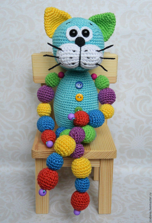 Кот Кругляш синий с бусинами игрушка вязаная крючком ...