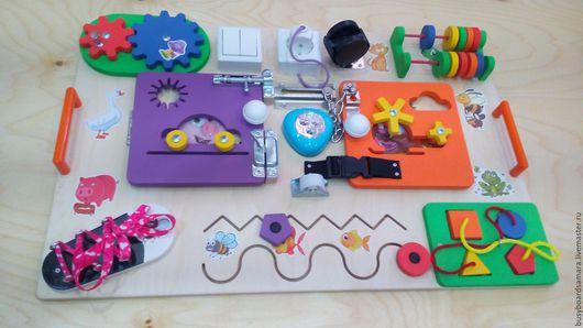 Развивающие игрушки ручной работы. Ярмарка Мастеров - ручная работа. Купить Бизиборд. 60х40см Модель 1. Handmade. Бежевый, Монтессори