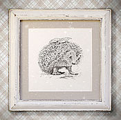 Картины и панно handmade. Livemaster - original item the picture Forest hedgehog (in box, handmade, white, white). Handmade.