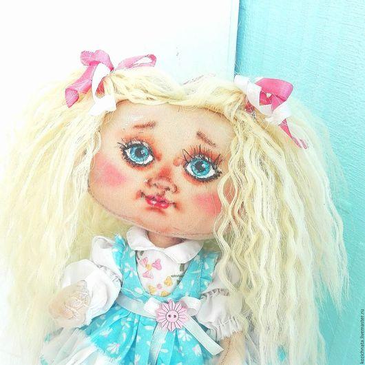 Коллекционные куклы ручной работы. Ярмарка Мастеров - ручная работа. Купить Текстильная кукла с клеткой для птички. Handmade. Голубой, блондинка