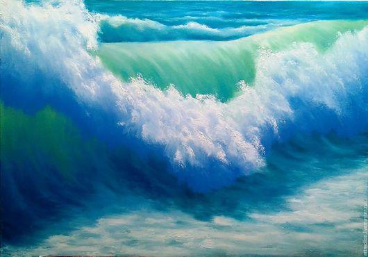 Пейзаж ручной работы. Ярмарка Мастеров - ручная работа. Купить Морская волна. Handmade. Морская волна, картина в подарок