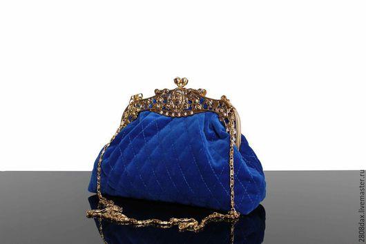 Женские сумки ручной работы. Ярмарка Мастеров - ручная работа. Купить Бархатная сумочка, королевский синий, брошь, вечерняя сумочка. Handmade.