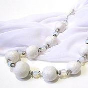 Аксессуары handmade. Livemaster - original item Scarf-beads Moonlight - felt and moonstone. Handmade.