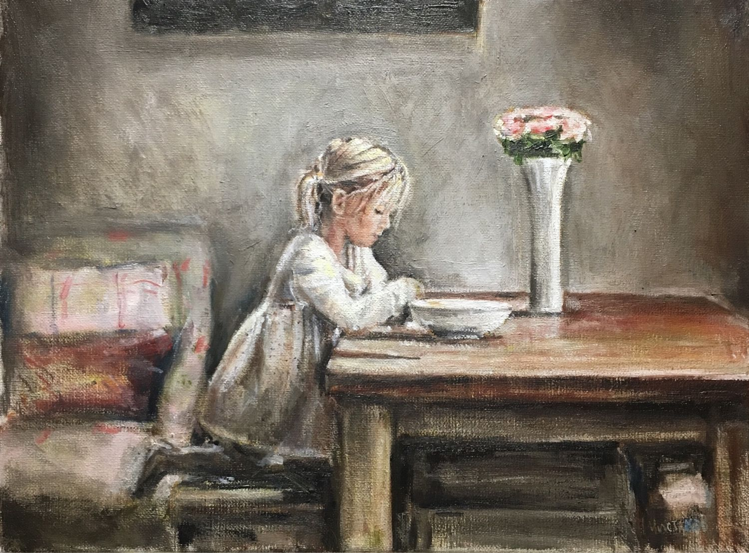 'Little blonde girl' oil on canvas 30-40 cm, Pictures, St. Petersburg,  Фото №1