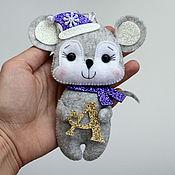 Сувениры и подарки handmade. Livemaster - original item Christmas decorations: felt Mouse with a monogram. Handmade.