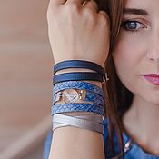 Украшения handmade. Livemaster - original item Set of bracelets for every day women in the style of denim. Handmade.