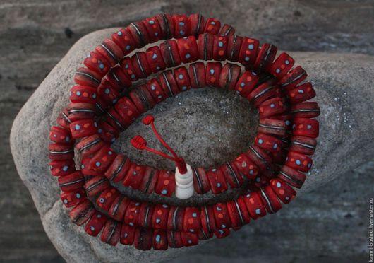 Для украшений ручной работы. Ярмарка Мастеров - ручная работа. Купить Кость яка красные этнические бусины 12 мм рондель из Непала. Handmade.