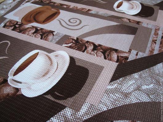 `Чашка чёрного кофе` - полотенце для кухни или дачи  сшито из вафельного полотна хлопок 100% с нанесённым на него принтом кофейной тематики.