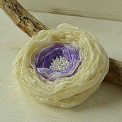 Украшения handmade. Livemaster - original item Brooch made of fabric, barrette, flower lilac in the garden. Handmade.