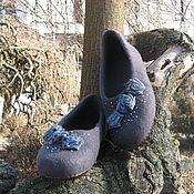 """Обувь ручной работы. Ярмарка Мастеров - ручная работа Тапочки """"Голубые розы"""". Handmade."""