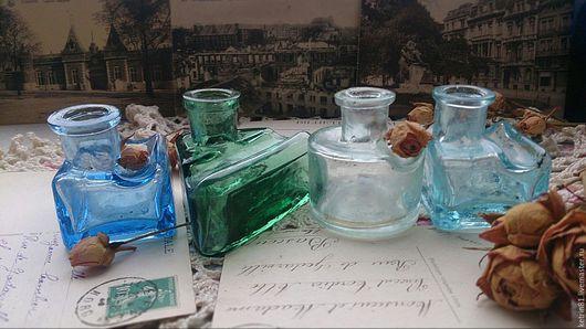 Винтажные предметы интерьера. Ярмарка Мастеров - ручная работа. Купить Бутылка старинная ЧЕРНИЛЬНИЦА (Германия) #35. Handmade. Голубой