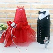"""Свадебный салон ручной работы. Ярмарка Мастеров - ручная работа Украшение свадебных бутылок """"Жених и невеста"""". Handmade."""