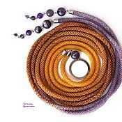 Аксессуары handmade. Livemaster - original item Thin belt rope made of beads with amethyst brown lilac. Handmade.