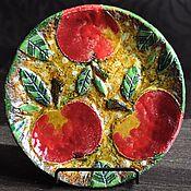 """Посуда ручной работы. Ярмарка Мастеров - ручная работа Декоративная тарелка """"Яблоки"""". Handmade."""