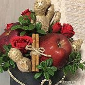 Букеты ручной работы. Ярмарка Мастеров - ручная работа Букет с розами, яблочками и имбирем. Handmade.