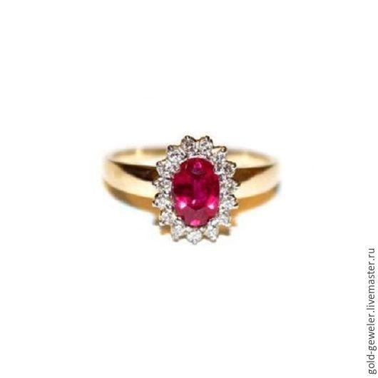 Золотое кольцо `Королевский рубин` с природным рубином и бриллиантами. Ювелирная мастерская Pacho.