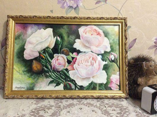 Картины цветов ручной работы. Ярмарка Мастеров - ручная работа. Купить Розы. Handmade. Роза, розы, комбинированный