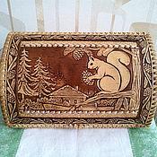 handmade. Livemaster - original item Birch bark breadbasket Squirrel. Wooden cat. For bread and pastries. Handmade.