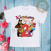 """Футболка ручной работы. Ярмарка Мастеров - ручная работа Детская футболка на 2 года """"Маша и медведь"""". Handmade."""