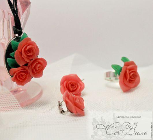 """Комплекты украшений ручной работы. Ярмарка Мастеров - ручная работа. Купить Комплект  """"Красные розы"""". Handmade. Ярко-красный"""