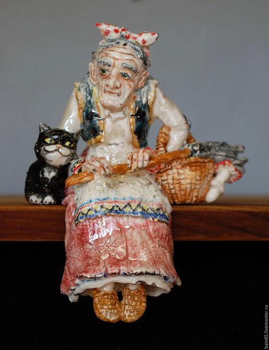 """Статуэтки ручной работы. Ярмарка Мастеров - ручная работа. Купить """"Баба Яга и чёрный кот"""".Статуэтка на полку.. Handmade. Комбинированный"""