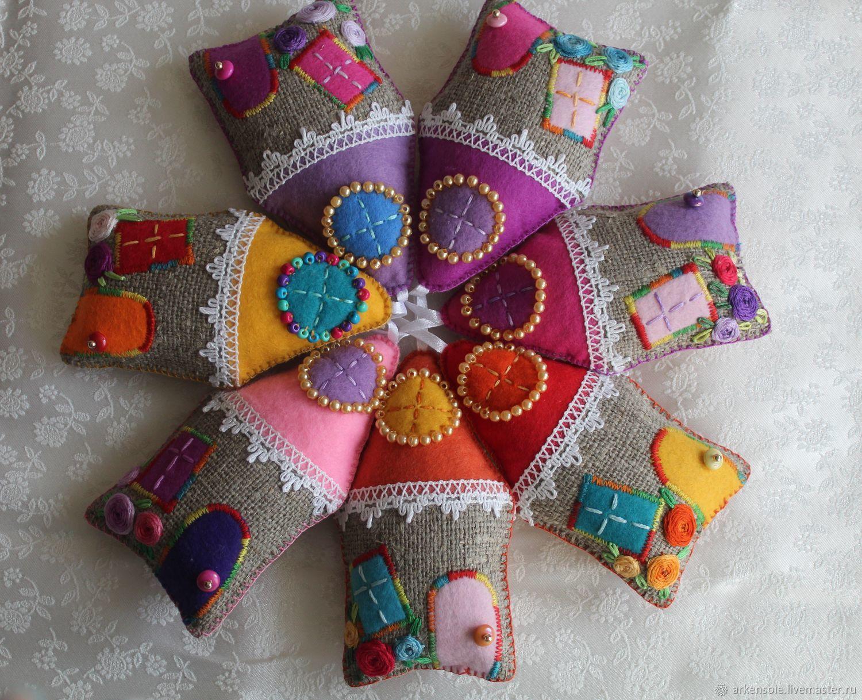Пасхальный подарок, Домик из фетра, игольница,подвеска 12см