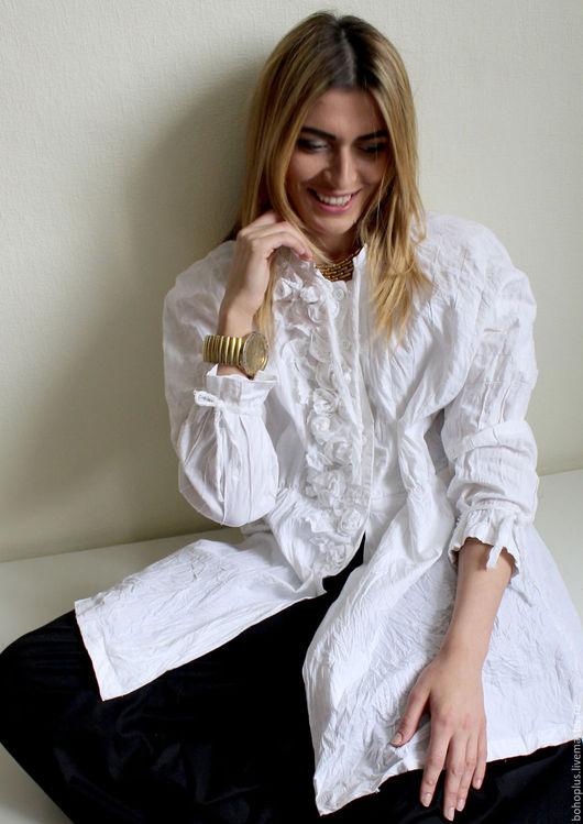 Блузки ручной работы. Ярмарка Мастеров - ручная работа. Купить Хлопковая блузка Облако2. Handmade. Белый, блузка женская, одежда