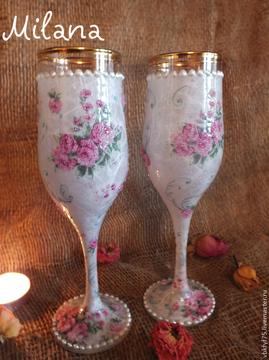 белые бокалы, свадебные бокалы, бокалы для шампанского, бокалы для вина, бокалы ручной работы, бокалы с розами, фужеры для шампанского, фужеры в подарок, бокалы для влюбленных, фужеры из стекла, купить бокалы в Москве, бокалы на свадьбу, красивые бокалы