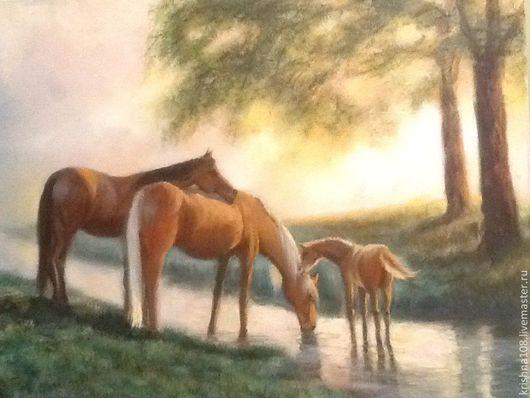 Пейзаж ручной работы. Ярмарка Мастеров - ручная работа. Купить Утром на лесной опушке. Handmade. Лесной пейзаж, семейная картина