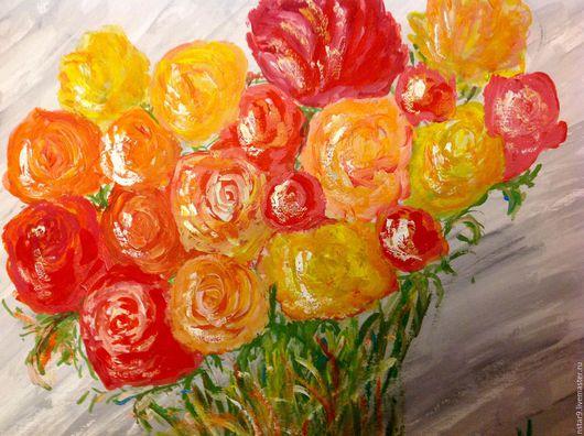 Картины цветов ручной работы. Ярмарка Мастеров - ручная работа. Купить Цветы для души.. Handmade. Ярко-красный