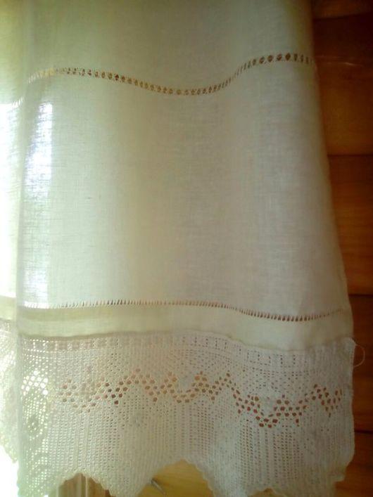 """Текстиль, ковры ручной работы. Ярмарка Мастеров - ручная работа. Купить Шторка """"Сливочная Бавария"""" в технике филейного вязания. Handmade."""