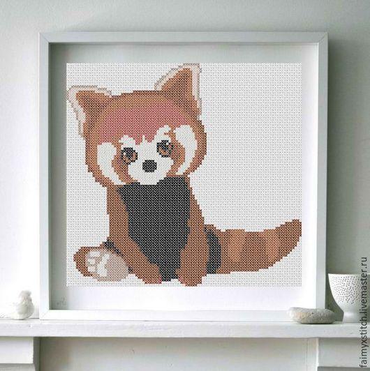 """Вышивка ручной работы. Ярмарка Мастеров - ручная работа. Купить Схема для вышивки крестом """"Красная панда"""". Handmade. Схема для вышивки"""