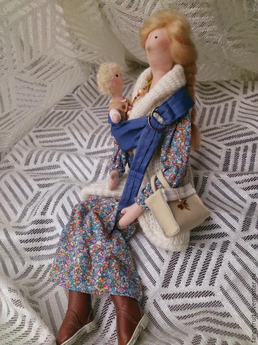 Куклы Тильды ручной работы. Ярмарка Мастеров - ручная работа. Купить Кукла текстильная Слингомама (слинг с кольцами). Handmade. Голубой