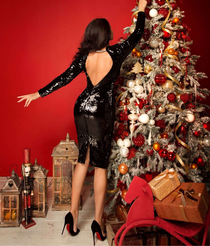 Чёрное платье с пайетками и открытой спиной 00605, Платья, Харьков,  Фото №1