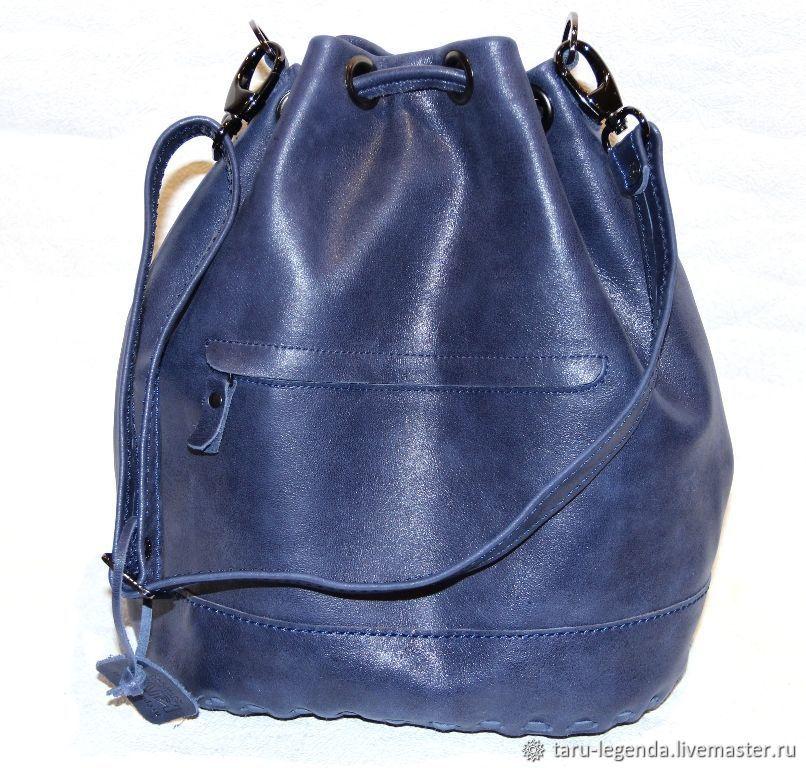 Сумка-торба  кожаная - синяя