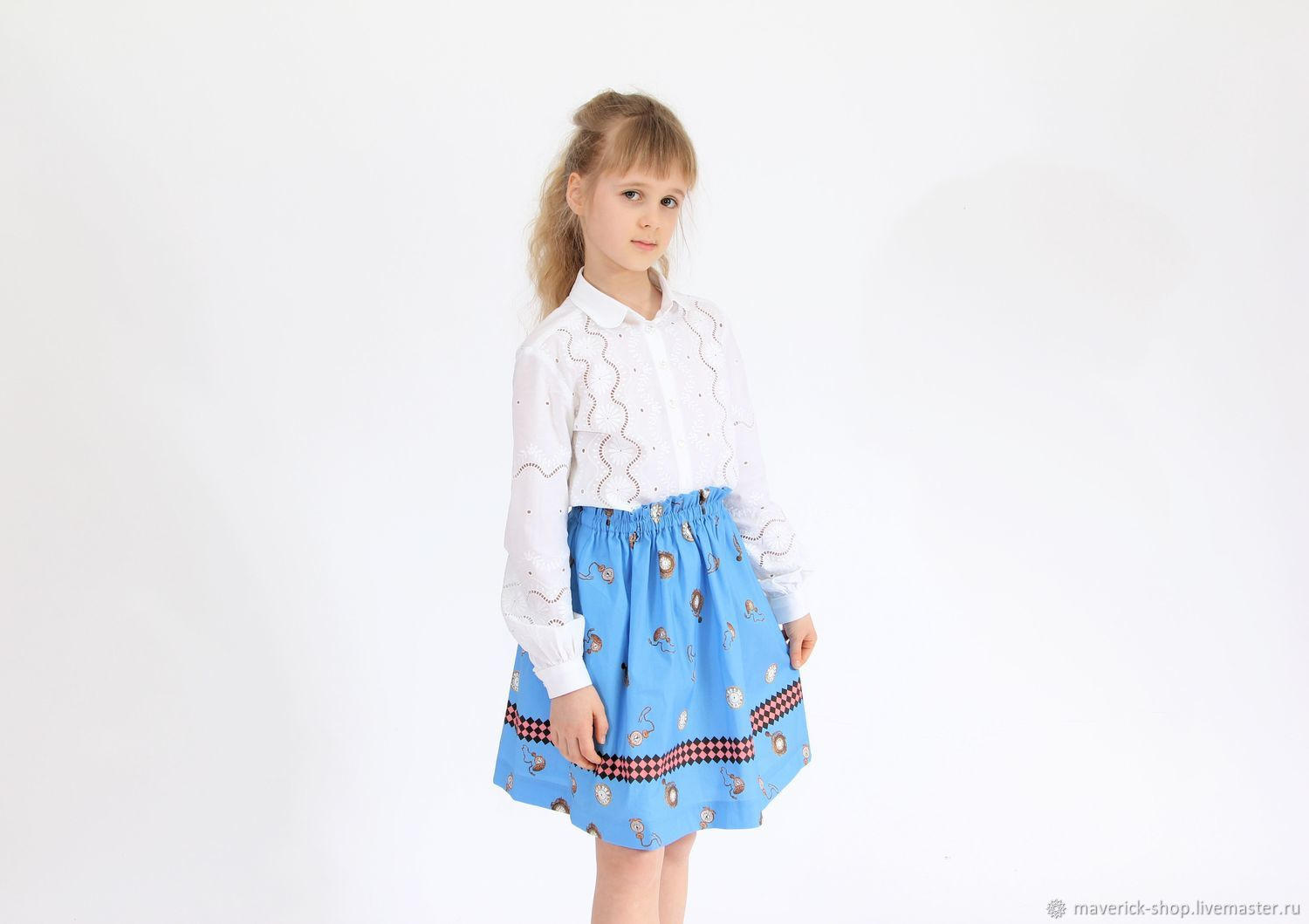 Clothes for Girls handmade. Livemaster - handmade. Buy Blue skirt for a girl with a watch in the style of Dolce Gabbana.