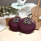 Украшения handmade. Livemaster - original item Earrings Rose Vintage Jewelry Real Flowers Burgundy. Handmade.