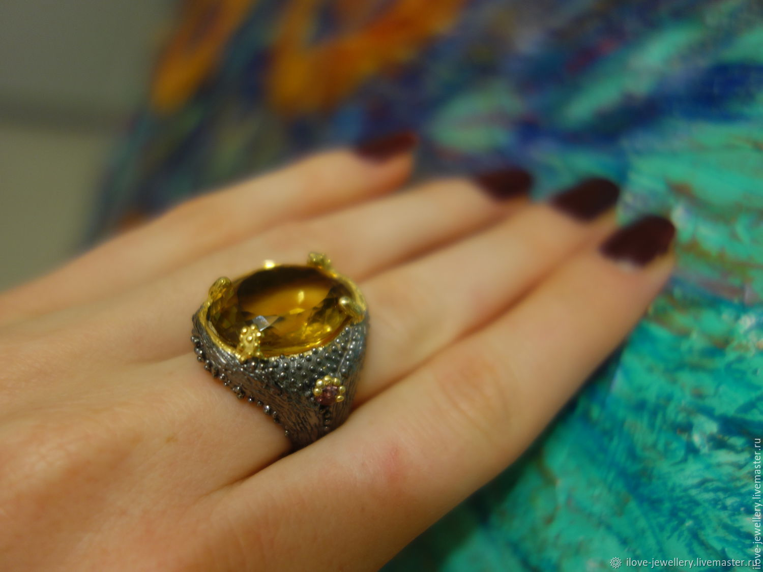 'Piezzo'-fashionable silver wives. ring with Golden citrine, Ring, Moscow,  Фото №1
