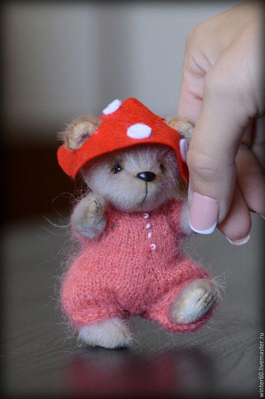 Мишки Тедди ручной работы. Ярмарка Мастеров - ручная работа. Купить Медвежонок Мухоморчик. Handmade. Бежевый, маленький, пластика