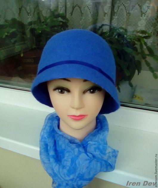 """Шляпы ручной работы. Ярмарка Мастеров - ручная работа. Купить Валяная шляпка Клош """"Мечта"""". Handmade. Синий, шляпка валяная"""