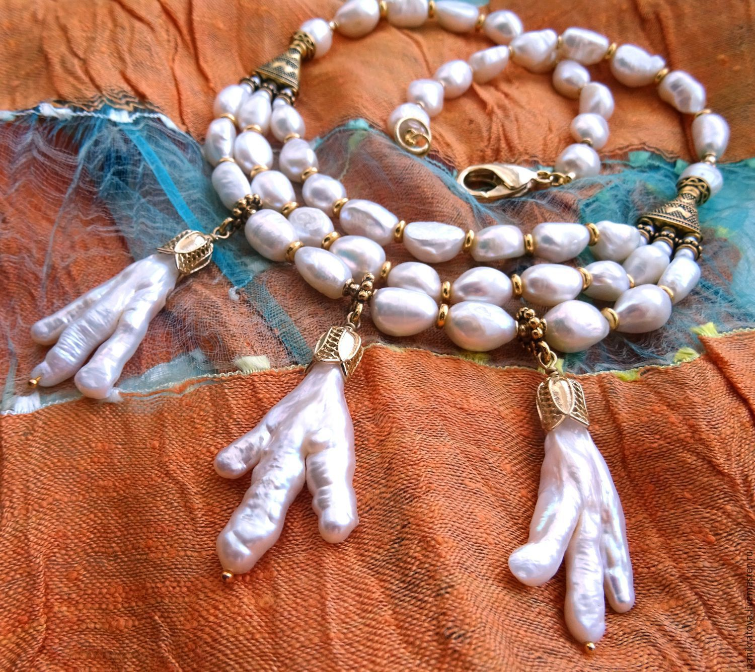 Necklace 'White magic' (pearls, Biwa pearls), Necklace, Moscow,  Фото №1
