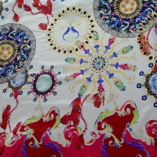 """Шитье ручной работы. Ярмарка Мастеров - ручная работа. Купить Крепдешин купон """"Азиатские мотивы"""". Handmade. Комбинированный, цветной шелк"""