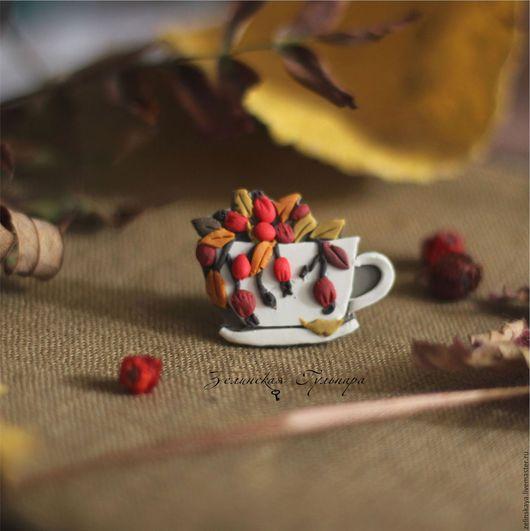 Броши ручной работы. Ярмарка Мастеров - ручная работа. Купить Чай с шиповником. Брошь. Handmade. Ярко-красный, рябиновый, осень