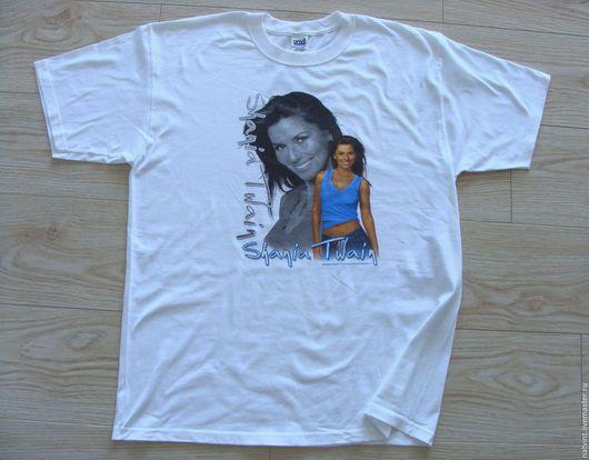 """Футболки, майки ручной работы. Ярмарка Мастеров - ручная работа. Купить Белая футболка, """"Shania Twain"""", 54 разм., 100% хлопок, США. Handmade."""