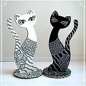 Для дома и интерьера ручной работы. Ярмарка Мастеров - ручная работа Инь и Янь- кошки статуэтки (держатели для колец). Handmade.