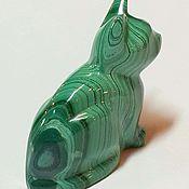 Для дома и интерьера ручной работы. Ярмарка Мастеров - ручная работа Нежная кошка из малахита. Handmade.