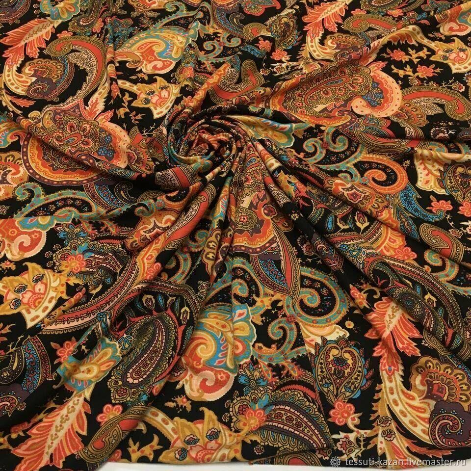 Трикотаж на черном пейсли оранжево-красно-голубые 08-6225, Ткани, Казань,  Фото №1
