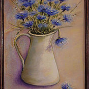 Pictures handmade. Livemaster - original item Painting with pastels to frame the STUDY in CORNFLOWER blue TONES. Handmade.