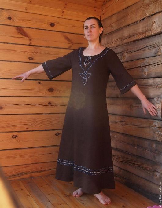 """Платья ручной работы. Ярмарка Мастеров - ручная работа. Купить Длинное льняное платье """"Берегиня"""". Handmade. Коричневый, платье в пол"""